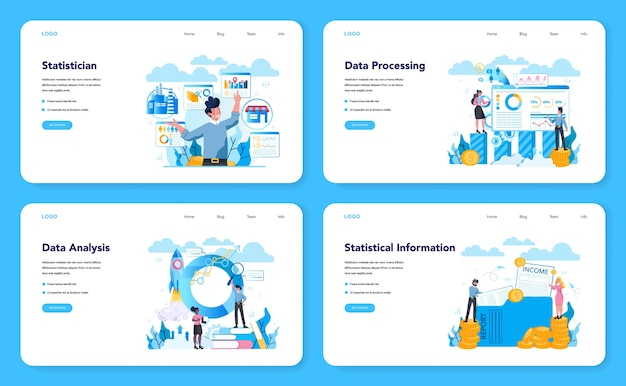 Estatístico e banner da web de estatísticas ou conjunto de páginas de destino