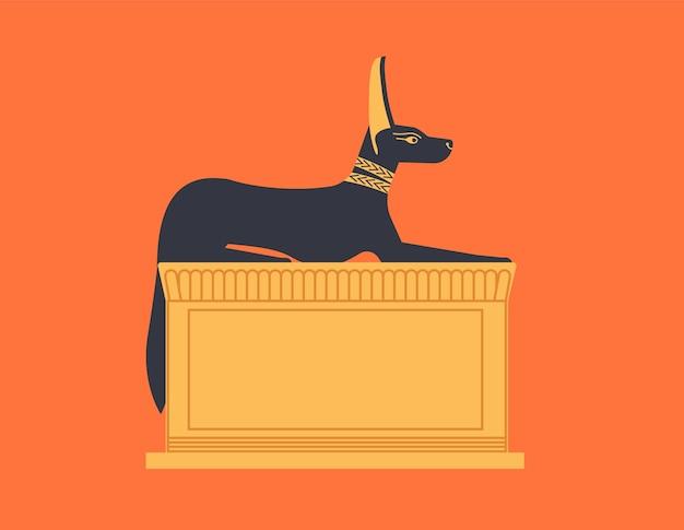 Estátua agachada ou reclinada de anúbis representado como lobo ou chacal