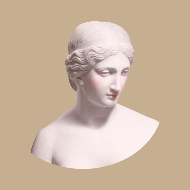 Estátua da deusa grega com mídia mista