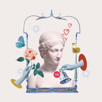 Estátua da deusa grega notificação de namoro on-line mídia mista estética