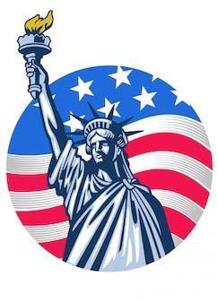 Estátua da liberdade com a bandeira do eua como pano de fundo