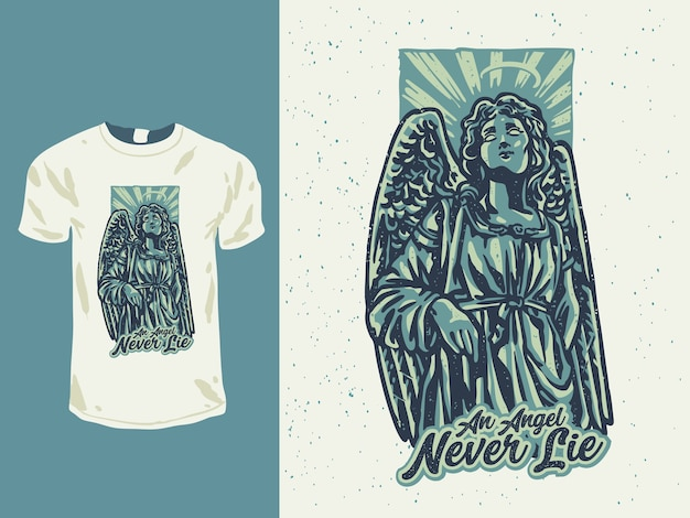 Estátua de anjo vintage com ilustração em estilo tatuagem