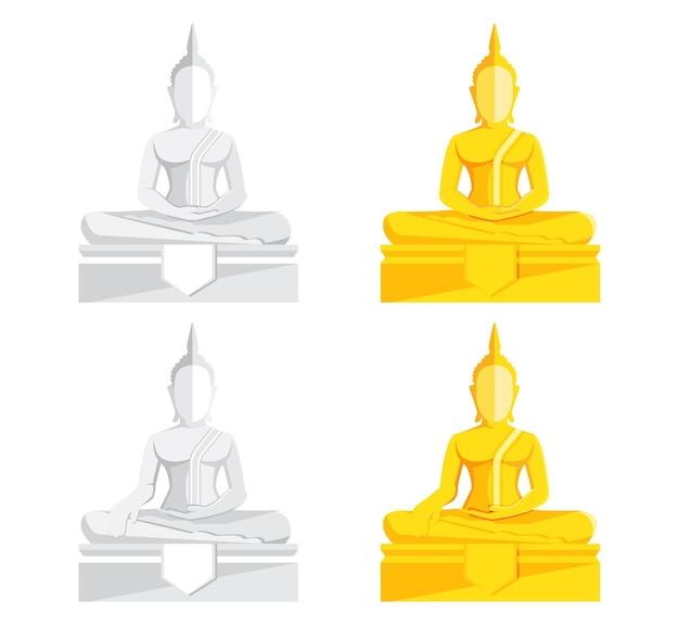 Estátua de buda, ilustração vetorial de buda dourado