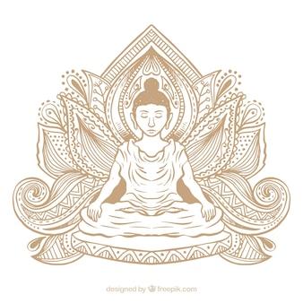 Estátua, de, buddha, fundo
