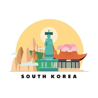 Estátua de paisagem da coreia do sul e casa em fundo branco