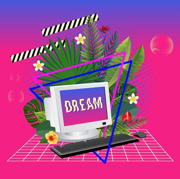Estátua de vaporwave com computador e folhas 3d ilustração inspirada nos anos 80