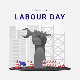 Estátua do dia do trabalho feliz com elementos de construção