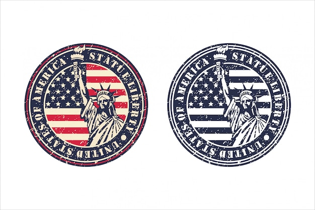 Estátua liberdade design vintage de estados unidos da américa