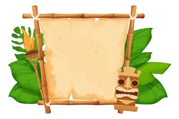 Estatueta de máscara havaiana tribal tiki com rosto humano em moldura de bambu e tocha de pergaminho