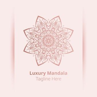 Este é o fundo de logotipo de mandala ornamental de luxo