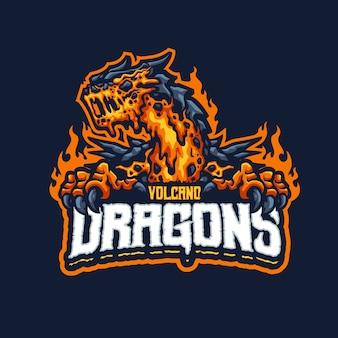Este é o logotipo do mascote dos dragões do vulcão. este logotipo pode ser usado para esportes, streamer, jogos e logotipo de esport.