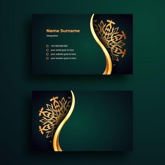 Este é um modelo de design de cartão de visita de luxo com fundo de mandala arabesco ornamentais de luxo
