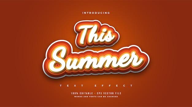 Este texto de verão em estilo vintage e desenho animado. efeito de estilo de texto editável