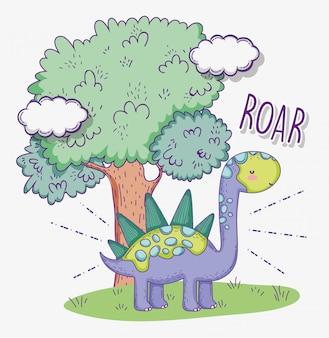 Estegossauro bonito animal com árvore e nuvens