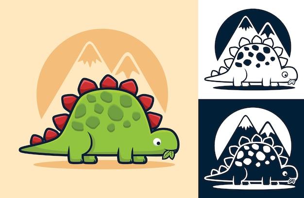 Estegossauro comendo folhas. ilustração dos desenhos animados em estilo de ícone plano