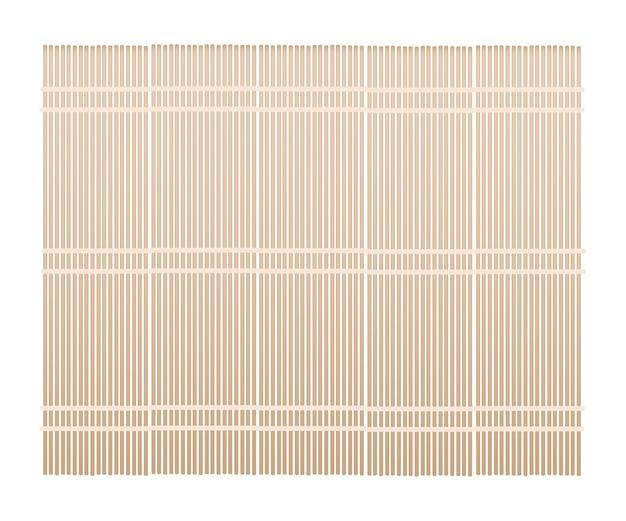 Esteira de bambu marrom no fundo branco