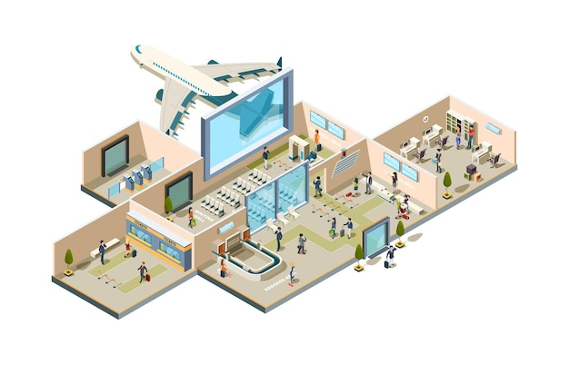 Esteira de embarque para passageiros da sala de espera com emissão de bilhetes de bagagem e personagens pessoais da aviação