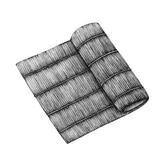 Esteira de rolo de bambu sushi de mão desenhada