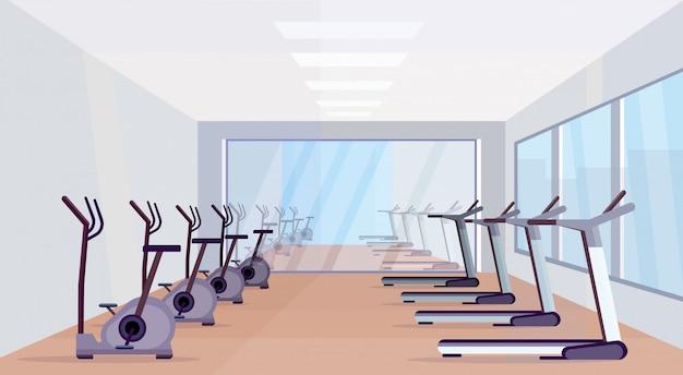 Esteiras e bicicletas estacionárias equipamentos modernos atividades esportivas estilo de vida saudável conceito vazio ninguém academia design de interiores horizontal