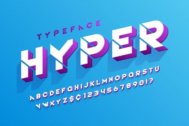 Estêncil 3d alfabeto futurista de ficção científica, conjunto de caracteres criativos.