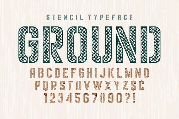 Estêncil alfabeto condensado original, conjunto de caracteres criativos