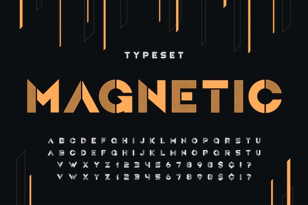 Estêncil alfabeto futurista de ficção científica, conjunto de caracteres criativos