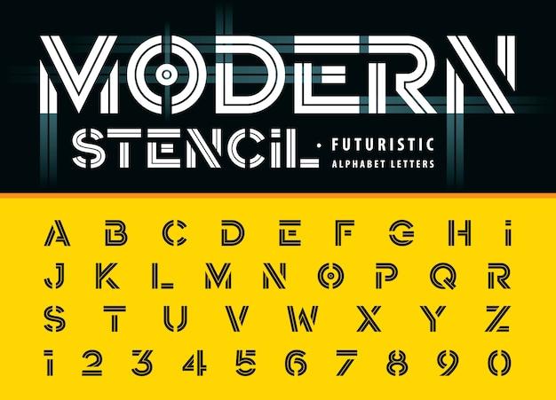 Estêncil moderno, letras do alfabeto em linha e números