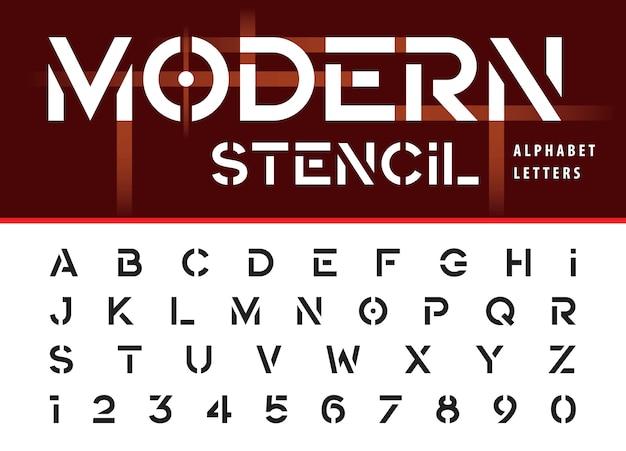 Estêncil moderno, letras do alfabeto em negrito e números