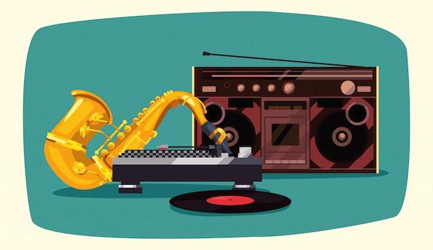 Estéreo retro do boombox do saxofone do funk