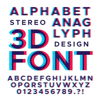 Estereoscópico estéreo letras e números 3d.