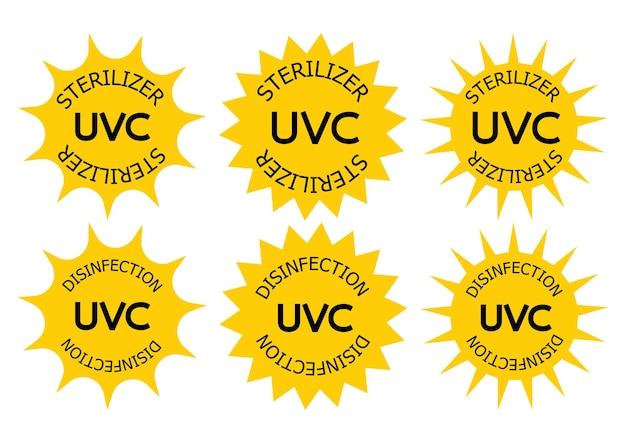 Esterilizador uv-c e carimbo de desinfecção. sinal de informação do dispositivo de saneamento. radiação uv, ícones ultravioleta solar. saneamento com luz uvc antimicrobiana. emblemas de limpeza de superfícies. ilustração vetorial