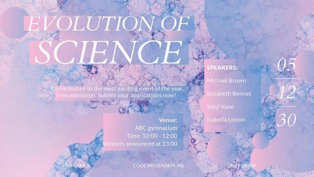 Estética bolha modelo arte vetorial evento ciência banner de anúncio colorido
