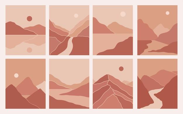 Estética de paisagens de montanha abstratas minimalistas e modernas