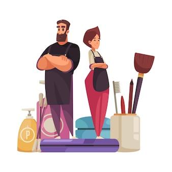 Esteticista de maquiagem com produtos cosméticos e ilustração de símbolos de beleza