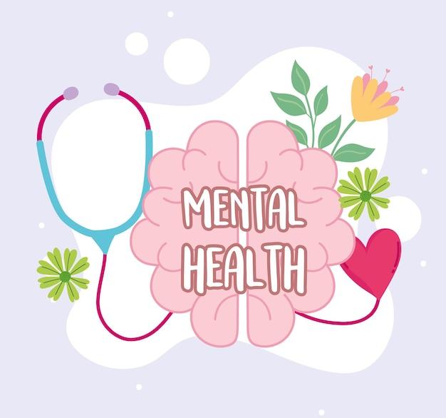 Estetoscópio cartão médico de saúde mental