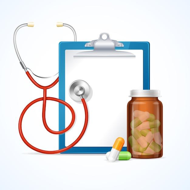 Estetoscópio de cuidados de saúde de diagnóstico de conceito médico, prancheta e cápsulas de comprimidos em garrafa. ilustração vetorial