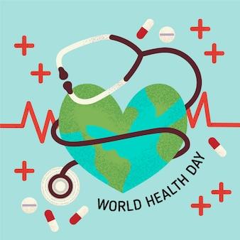 Estetoscópio do dia mundial da saúde e linha de pulso