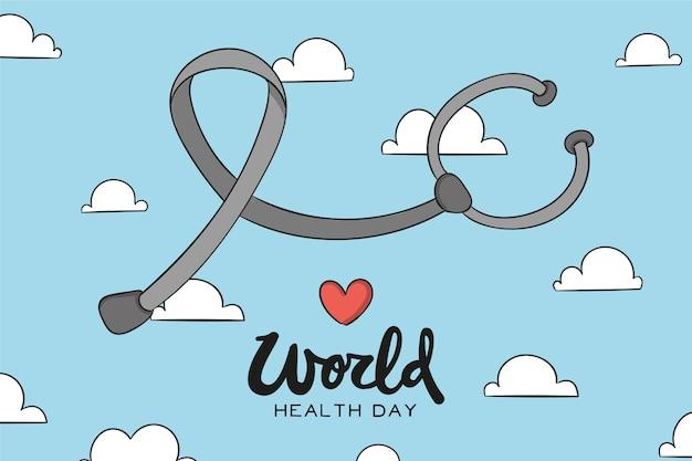 Estetoscópio do dia mundial da saúde no céu
