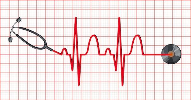 Estetoscópio e batimentos cardíacos em papel milimétrico