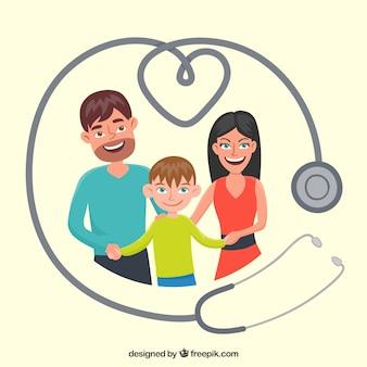 Estetoscópio e família feliz