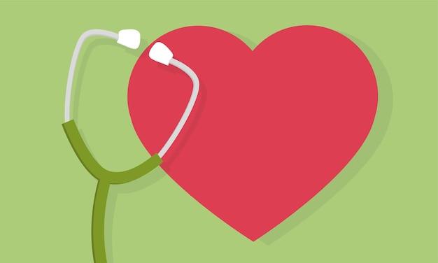Estetoscópio e ícone de coração ou sinal. símbolo de cuidado de pulso. elemento para o projeto de medicina. ilustração vetorial.