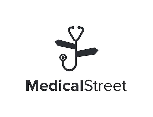 Estetoscópio e placa de rua simples, elegante, criativo, geométrico, moderno, design de logotipo