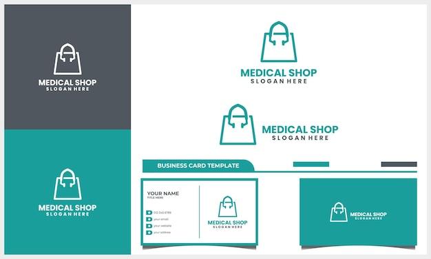Estetoscópio médico com conceito de design de logotipo de bolsa de compras e modelo de cartão de visita