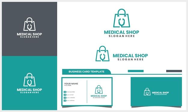 Estetoscópio médico com conceito de design de logotipo de sacola de compras e modelo de cartão de visita Vetor Premium
