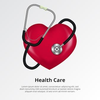 Estetoscópio médico com forma de coração para cuidados de saúde, hospital. ilustração de pulsação de pulso