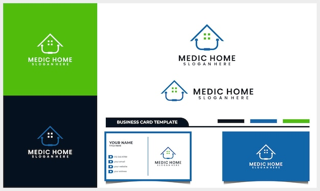 Estetoscópio médico com logotipo de símbolo de casa ou casa e modelo de cartão de visita