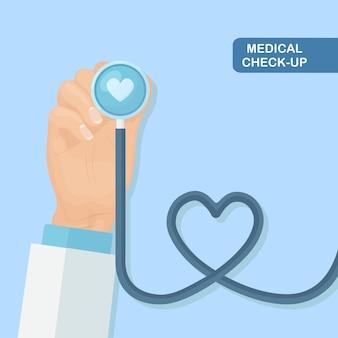 Estetoscópio médico em segundo plano. cuidados de saúde, pesquisa de coração.