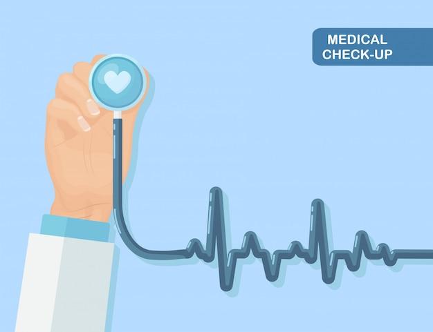 Estetoscópio médico na mão do médico isolado no fundo. saúde, pesquisa do conceito de coração. design plano