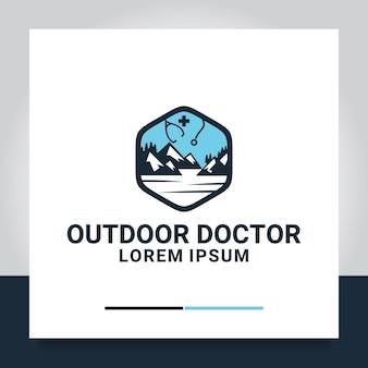 Estetoscópio montanha design de logotipo médico montanha ao ar livre