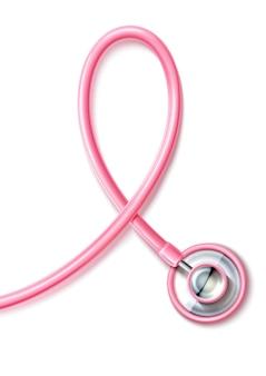 Estetoscópio rosa realista símbolo de conscientização do câncer de mama